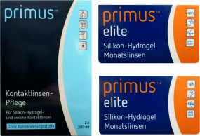 Primus elite Silikon-Hydrogel Monatslinse mit Primus Kombilösung im Set (Halbjahresbedarf)