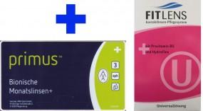 Primus bionische Monatslinsen+ mit Fit Lens Universallösung im Set (Halbjahresbedarf)
