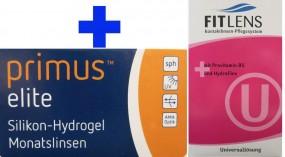 Primus elite Silikon-Hydrogel Monatslinse mit Fit Lens Universallösung im Set (Halbjahresbedarf)